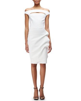 Melania Off-the-Shoulder Ruch-Skirt Cocktail Dress