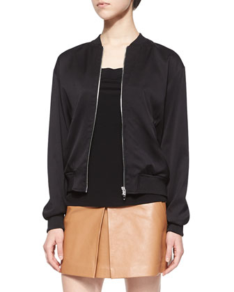 Stretch-Silk Twill Bomber Jacket, Matte Jersey Open-Back Cami & Lambskin ...