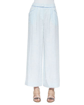 Tate Short-Sleeve Suede Knit Tee & Pleated Wide-Leg Linen Pants