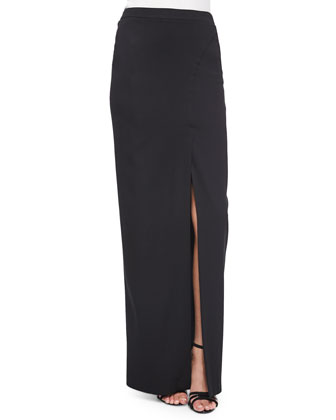 Stretch Crepe Front-Slit Maxi Skirt