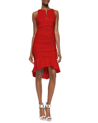 Sleeveless Zip-Front Flounce-Hem Cocktail Dress