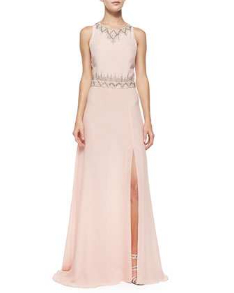 Sleeveless Beaded-Neck/Waist Gown