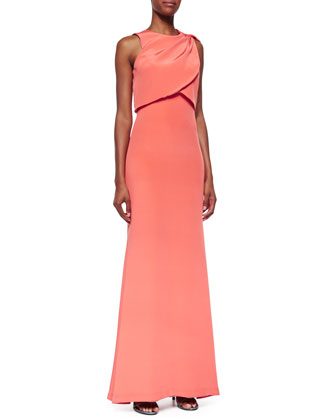 Sleeveless Popover Open-Back Gown