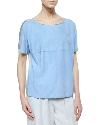 Tate Short-Sleeve Suede Knit Tee