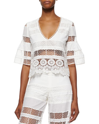 Aden Crochet Crop Top, Linear Off White