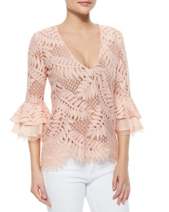 Nolan V-Neck Lace Top, Blush Leaf