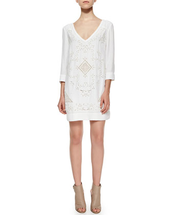 Embroidered Woven Dress, Summer White
