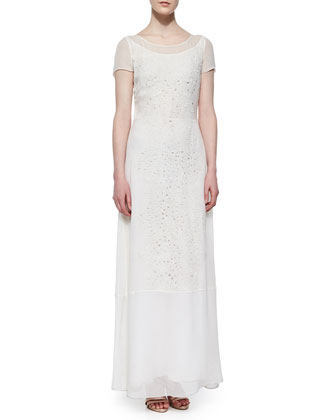Short-Sleeve Lace-Trim Chiffon Dress, Summer White