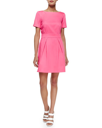 Short-Sleeve Pleated Sateen Dress, Keywest Coral