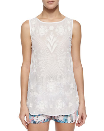 Sheer Chiffon Embroidered Tank, Summer White
