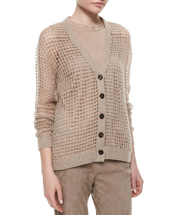 Luxury Knit Cashmere Sequin Cardigan & Suede Ankle-Zip Leggings