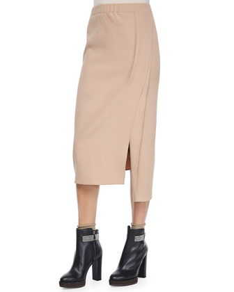 Pull-On Midi Skirt w/Slits, Toffee