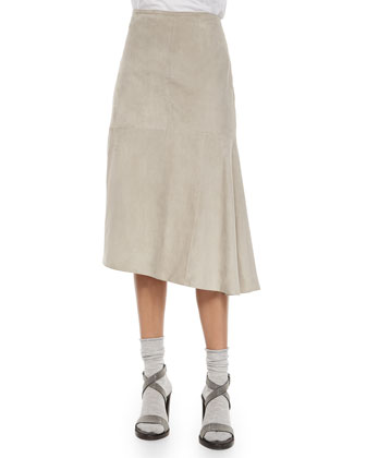 Reversible Cashmere/Fur Zip Vest, Stretch Top & Suede Skirt