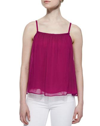 Keria Flowy Silk Camisole, Cranberry