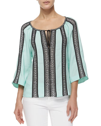 3/4-Sleeve Woven Striped Peasant Top