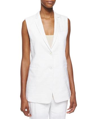 Sleeveless Two-Button Linen Blazer