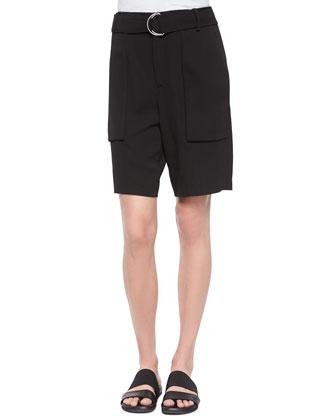 Revolve Belted Long Shorts, Black
