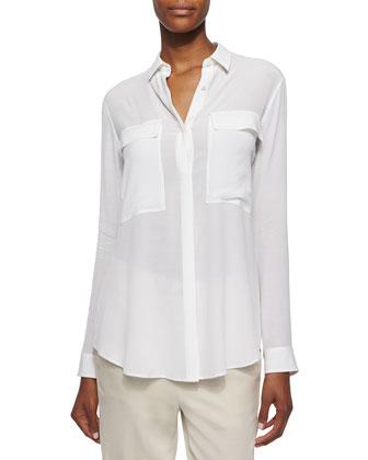 Gaze Long-Sleeve Button-Front Blouse