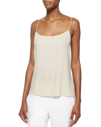 Sleeveless Two-Button Linen Blazer, Revolve Jersey Cami & Solstice ...