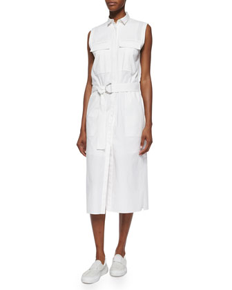 Sleeveless Poplin Belted Shirtdress