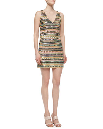 Venetia Beaded V-Neck Dress