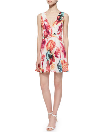 Cayden Gathered V-Neck Floral Dress, Multicolor