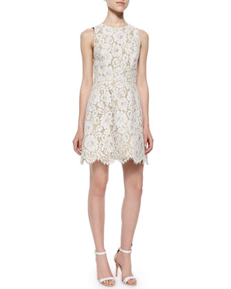 Leann Sleeveless Lace Dress, Cream