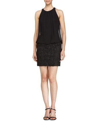 Chiffon Combo Dress, Black
