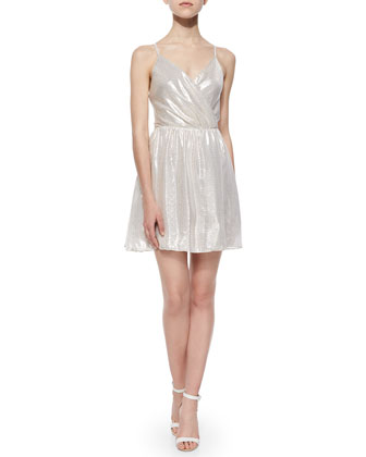 Livvy Lam� Open-Back Dress, Metallic Gray