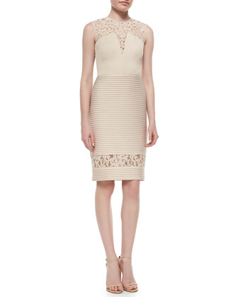 Sleeveless Lace Banded Combo Cocktail Dress