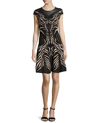 Animal-Print Fit-and-Flare Dress, Black / Nude