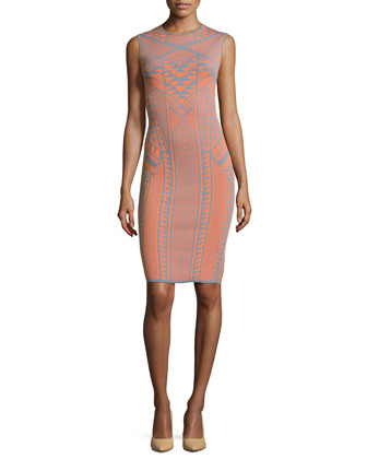Geometric-Print Sweater Dress, Orange/Gray