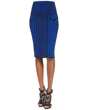 Graphic Jacquard Pencil Skirt