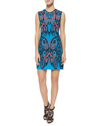Sleeveless Crewneck Printed Cocktail Dress