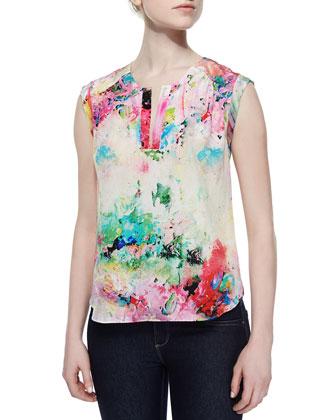 Market Floral Silk Blouse, Gardenia