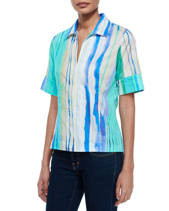 Watercolor-Print Short-Sleeve Tunic