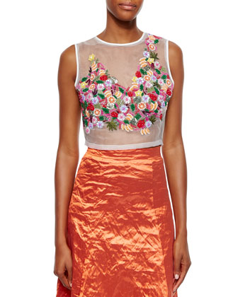 Embellished Organza Crop Top