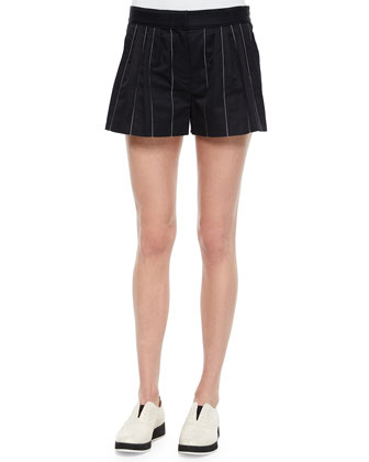 Pico Striped Pleated Shorts, Navy