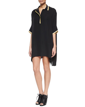 Dana Striped-Trim Silk Tunic