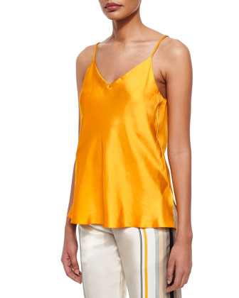 Cove Sleeveless Silk Top, Old Gold