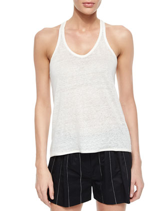 Ines One-Button Vest, Dunes Linen Racerback Tank & Pico Striped Pleated ...