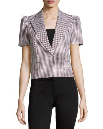 Puff Short Sleeve Check Jacket, Optic White/Nutmeg