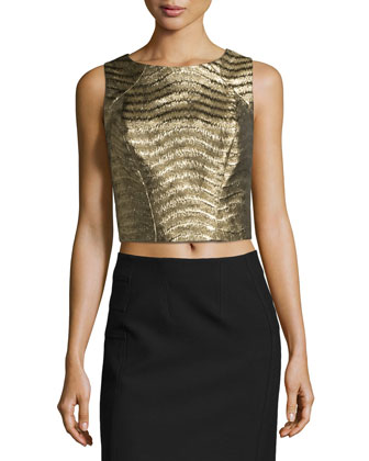 Sleeveless Jacquard Crop Top, Gold