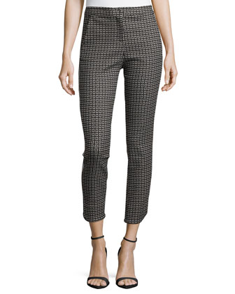 Geometric-Print Slim Ankle Pants