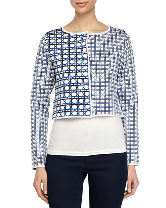 Geometric-Print Cardigan, Matchpoint/White