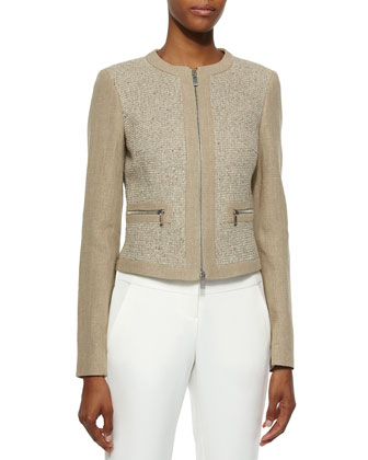 Two-Tone Long Sleeve Jacket, Hemp