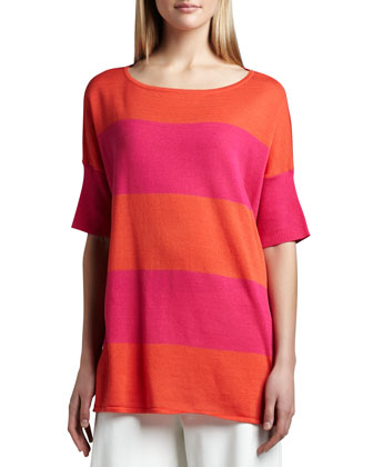Striped Boxy Sweater, Petite