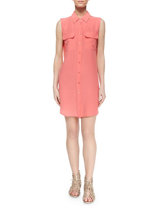 Sleeveless Slim Signature Silk Shirtdress, Sunkissed