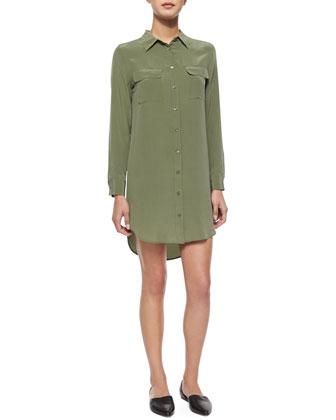 Slim Silk Signature Shirtdress, Green