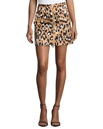 Zip-Front Printed Mini Skirt, Suntan Multi